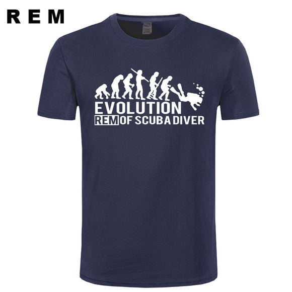 REM EVOLUTION OF SCUBA DIVER dive down flag Dive funny Black T-Shirt Mens 2015 New Designs Summer Style T Shirt Top Tees