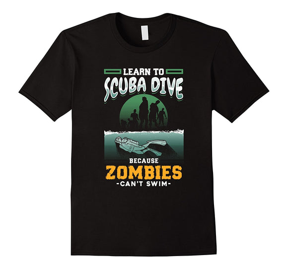 Men'S T-Shirts Summer Style Fashion Swag Men T Shirts S-3Xl Zombies Can't Funny Scuba Diver Instructor T-Shirt