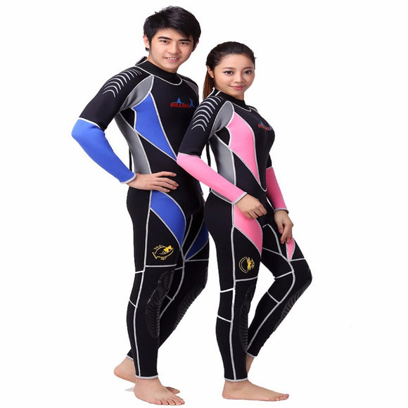 Neoprene 3MM Scuba dive Wet suit Lovers Wetsuit Equipment Snorkeling Jumpsuit One piece long sleeved Triathlon Spearfishing Surf