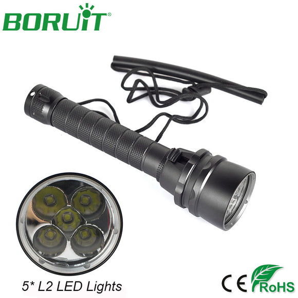 Boruit 50W 8000Lm 5 XM-L2 LED Scuba Diving Flashlight Underwater 100m Dive Torch Waterproof Lantern Light Lamp