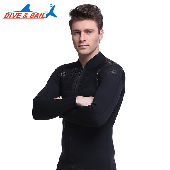 DIVE&SAIL Brand Men 3 MM Neoprene Top Wetsuit Surf Diving Long Sleeve Front Zipper