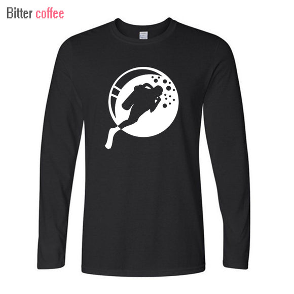 BITTER COFFEE winter Custom long  Sleeve Valentine's Love Scuba Dive Diver Tee Shirt printing Men Plus Size T Shirts
