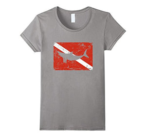Shark on A Dive Flag T-Shirt Vintage Distressed Divers Tee Short Sleeves Cotton Free Shipping T Shirt Men Print