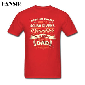 Men's White Short Sleeve Cotton Behind Every Great Scuba Diver Daughter Is A Truly Amazing Dad Men T Shirt