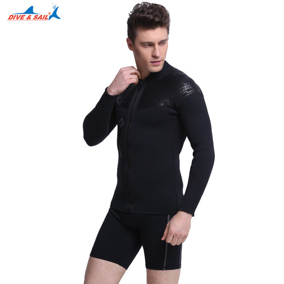 3MM Neoprene Long Sleeved Jumpsuit For Men Wet coat Scuba Dive Jacket Wet coatTop Winter Swim Warm Surf Upstream