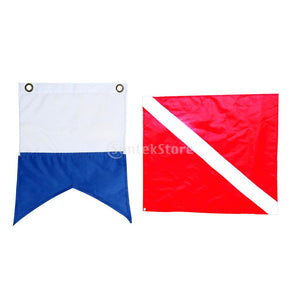 2 Pieces Nylon Diver-Down Boat Flag, Scuba Dive Flag Marker Banner Maritime Signal Flag Red White and Blue White