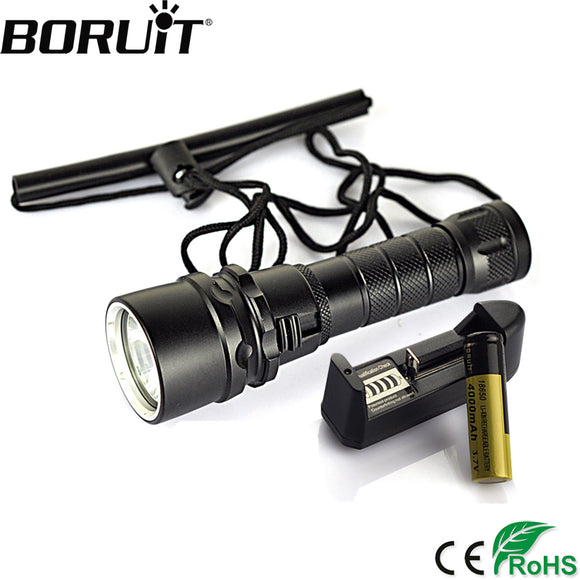 BORUiT 2500LM XML T6 LED Scuba Diving Flashlight 80M Underwater Waterproof Torch Outdoor Diver Lantern 18650 Battery