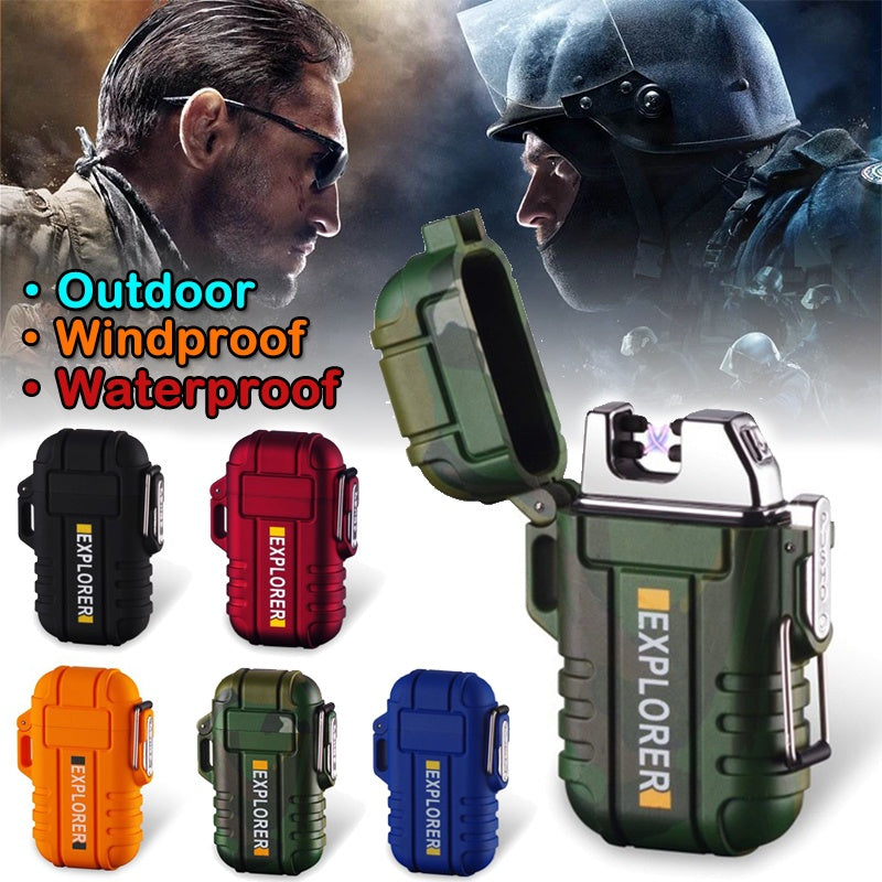 Outdoor Waterproof USB Electric Lighter Windproof Dual Arc Plasma
