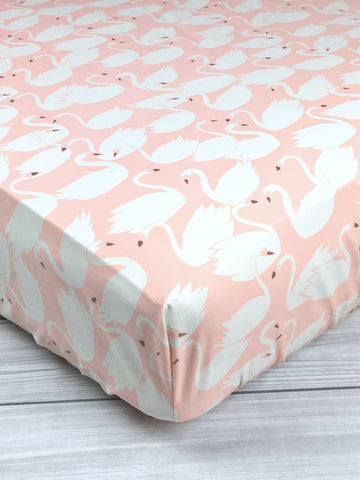 Pink Swans Crib Sheet or Changing Pad Cover