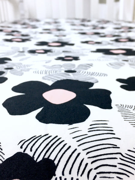 Monochrome Floral Crib Sheet or Changing Pad Cover