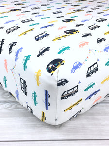 Cars and Campers Crib Sheet or Changing Pad Cover