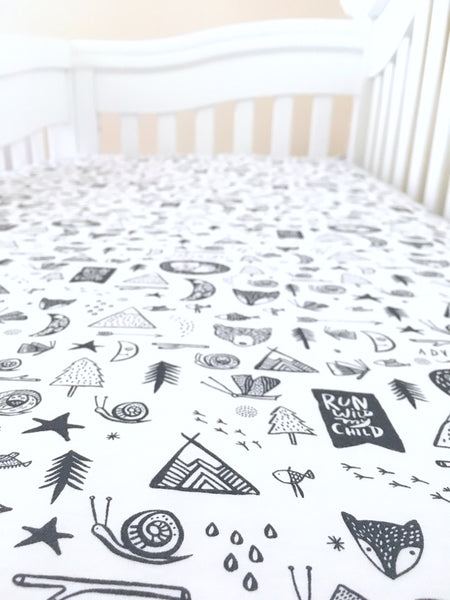 Adventure Awaits Crib Sheet or Changing Pad Cover