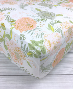 Peach Peonies Crib Sheet or Changing Pad Cover
