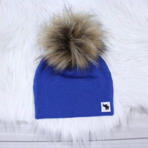 Royal Blue Pom Beanie