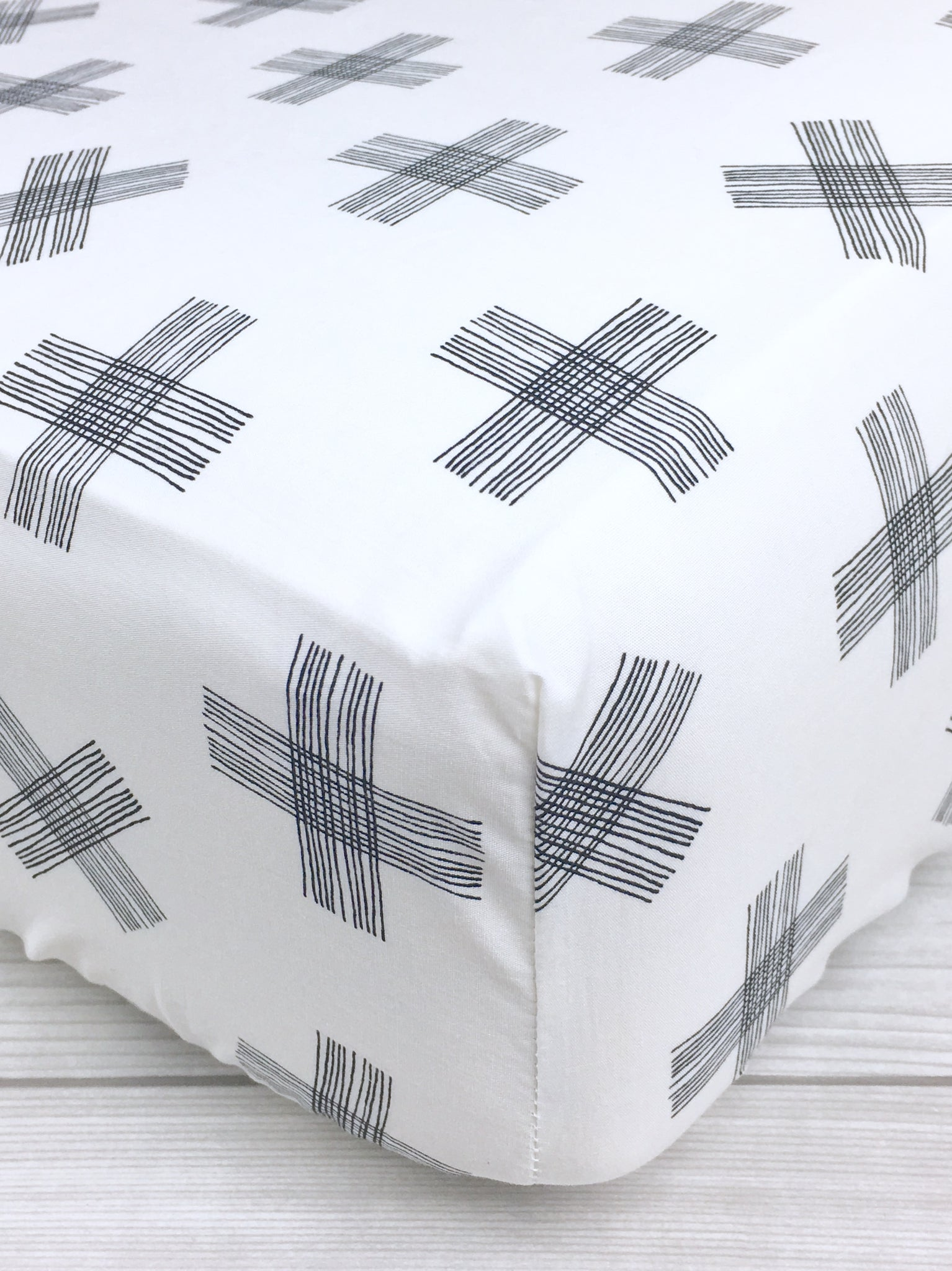 Monochrome Cross Crib Sheet or Changing Pad Cover