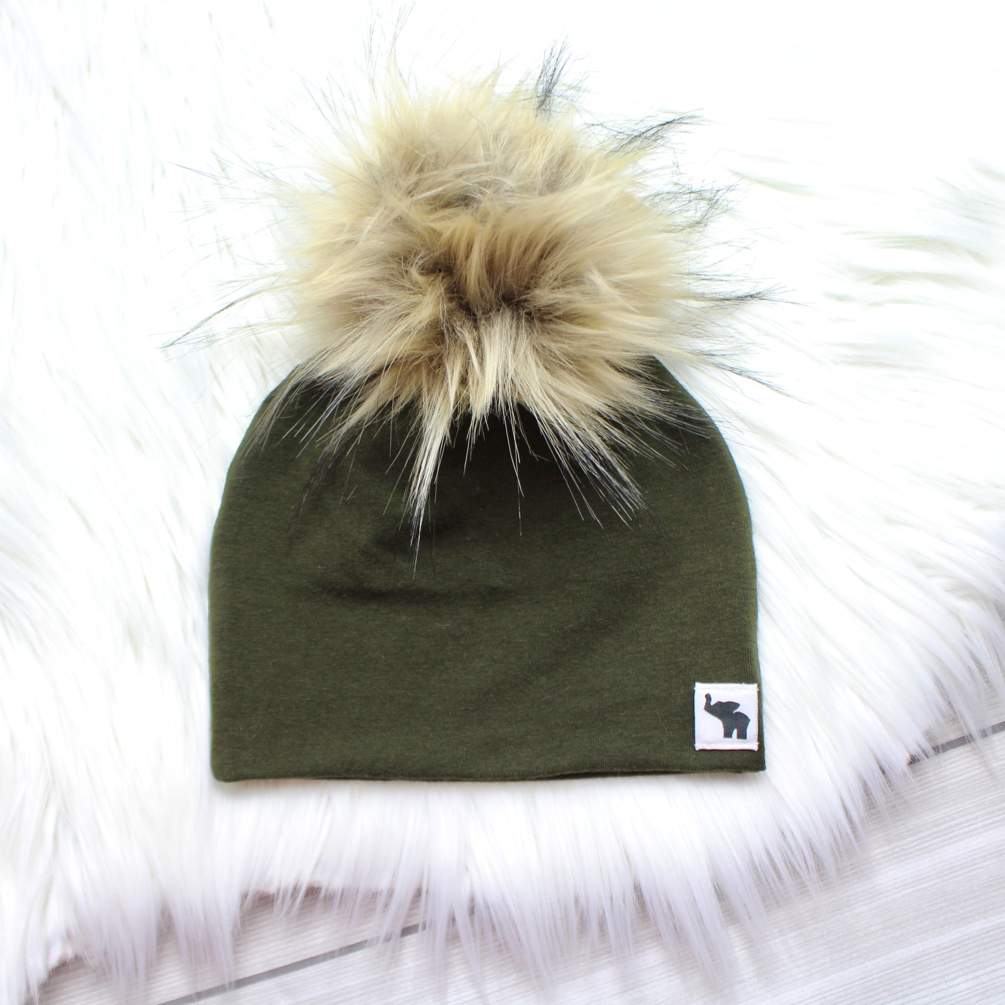 a78e0703b40 Olive Green Pom Beanie – The Giggling Peanut