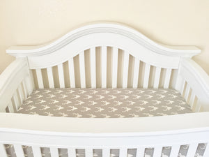 Gray Bucks Crib Sheet or Changing Pad Cover