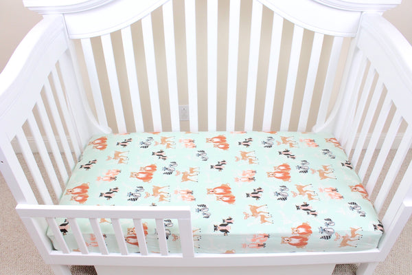 Mint Hello Bear Crib Sheet or Changing Pad Cover