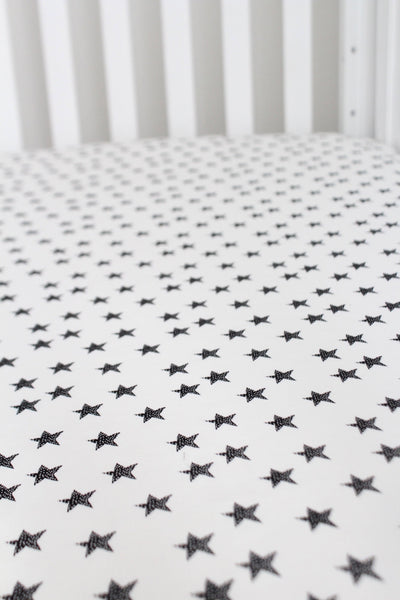 Monochrome Stars Crib Sheet or Changing Pad Cover