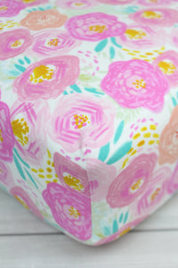 Pink Posies Crib Sheet or Changing Pad Cover