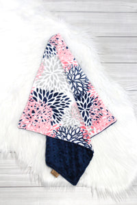 Coral Flower Bursts/Navy Lovey