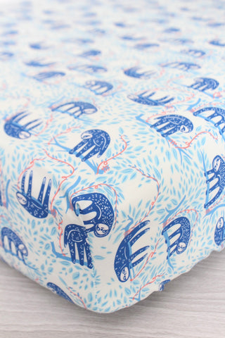 Blue Sloths Crib Sheet or Changing Pad Cover