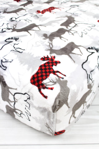 Buffalo Moose and Friends Minky Crib Sheet or Changing Pad Cover