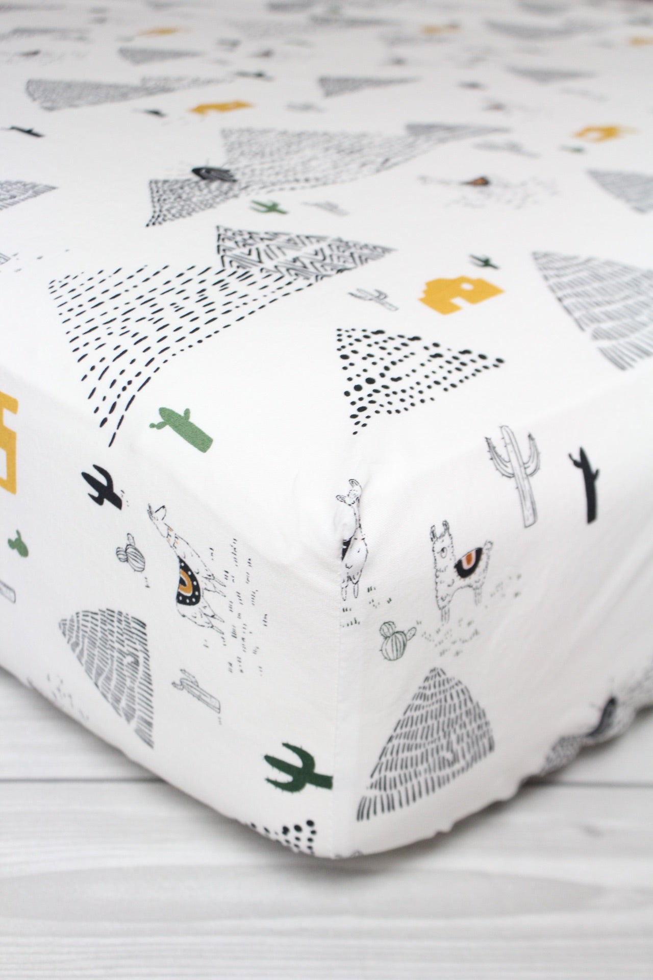 Llama and Cactus Crib Sheet or Changing Pad Cover