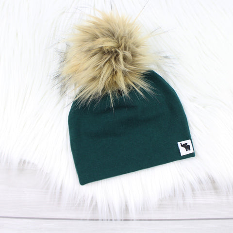 Hunter Green Pom Beanie