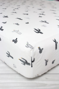 Monochrome Cactus Crib Sheet or Changing Pad Cover