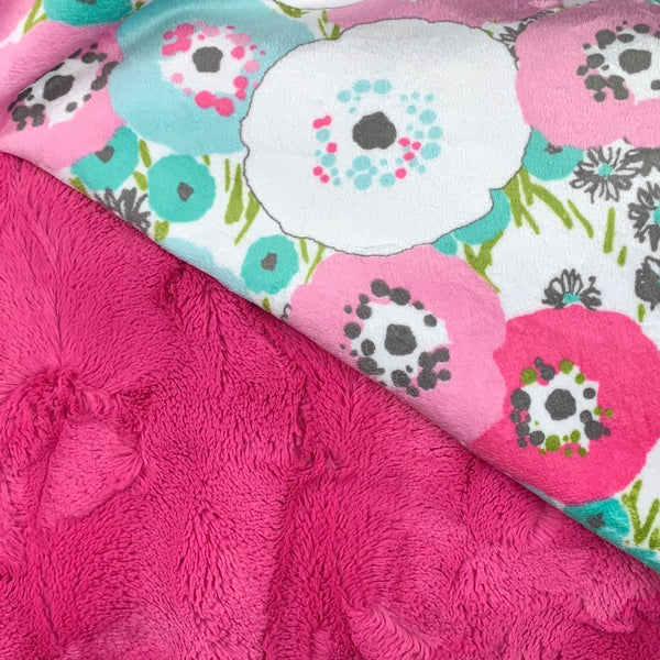 Pink Poppies Minky Blanket