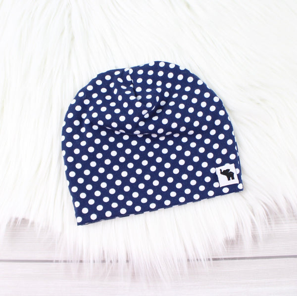 Navy Blue Polka Dot Pom Beanie