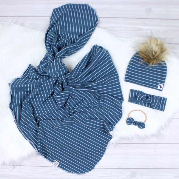 Navy Stripes Swaddle Set