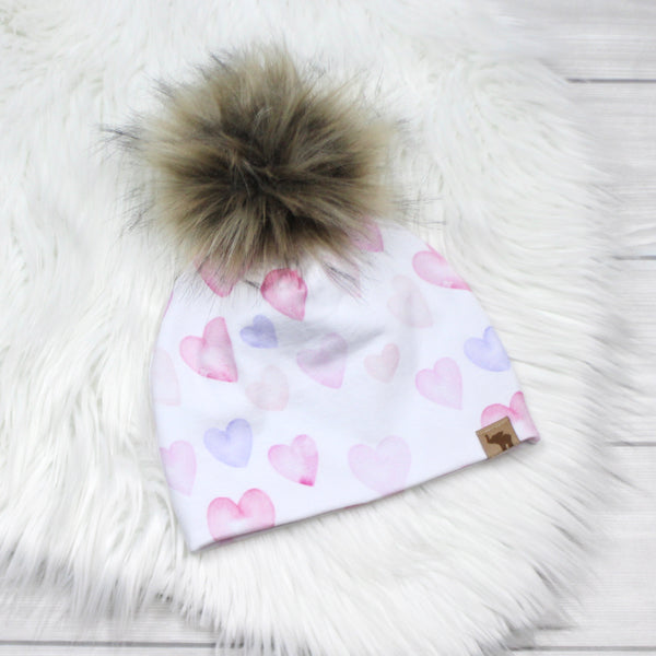 Watercolor Hearts Beanie