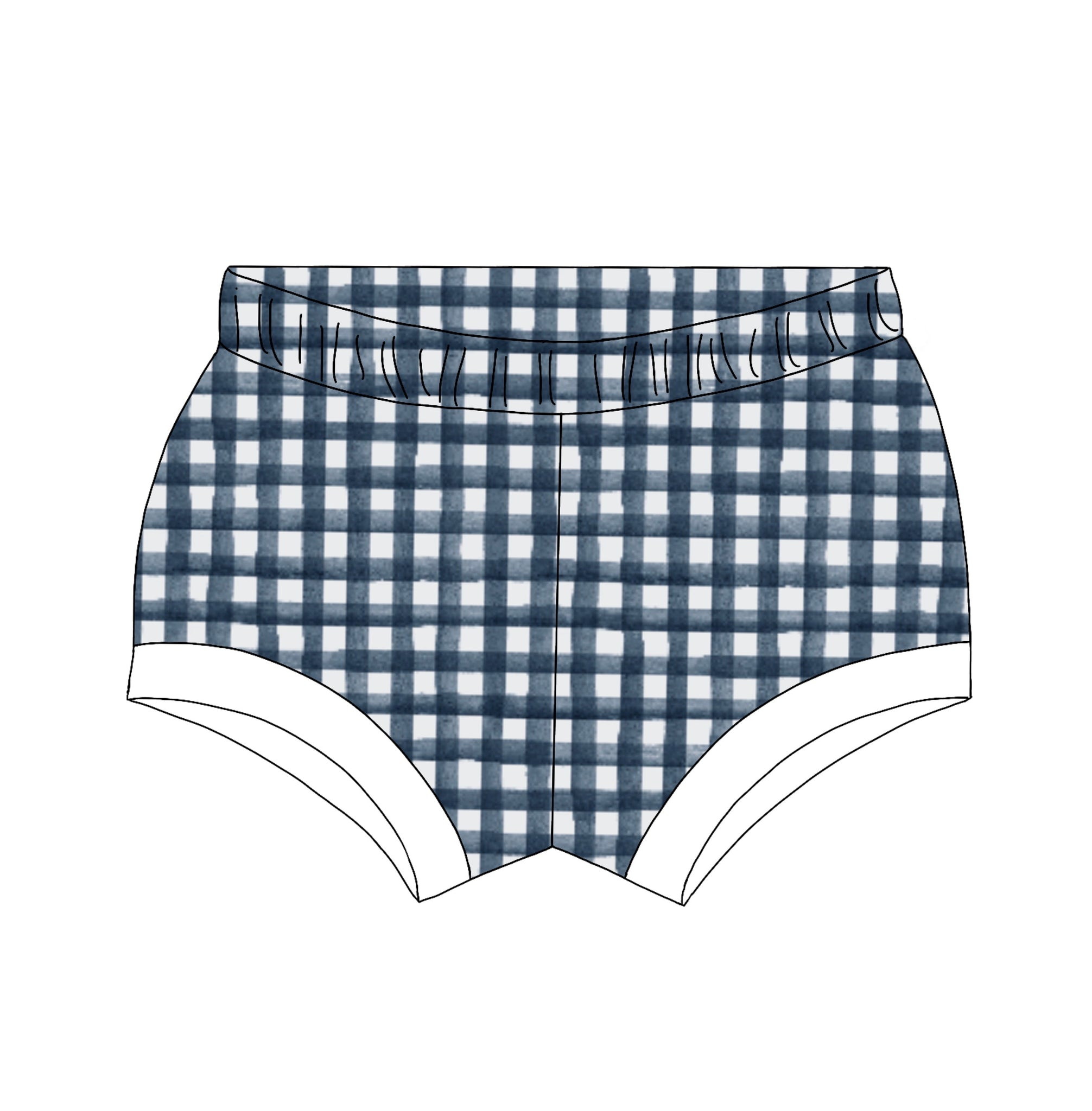 Navy Gingham Shorties