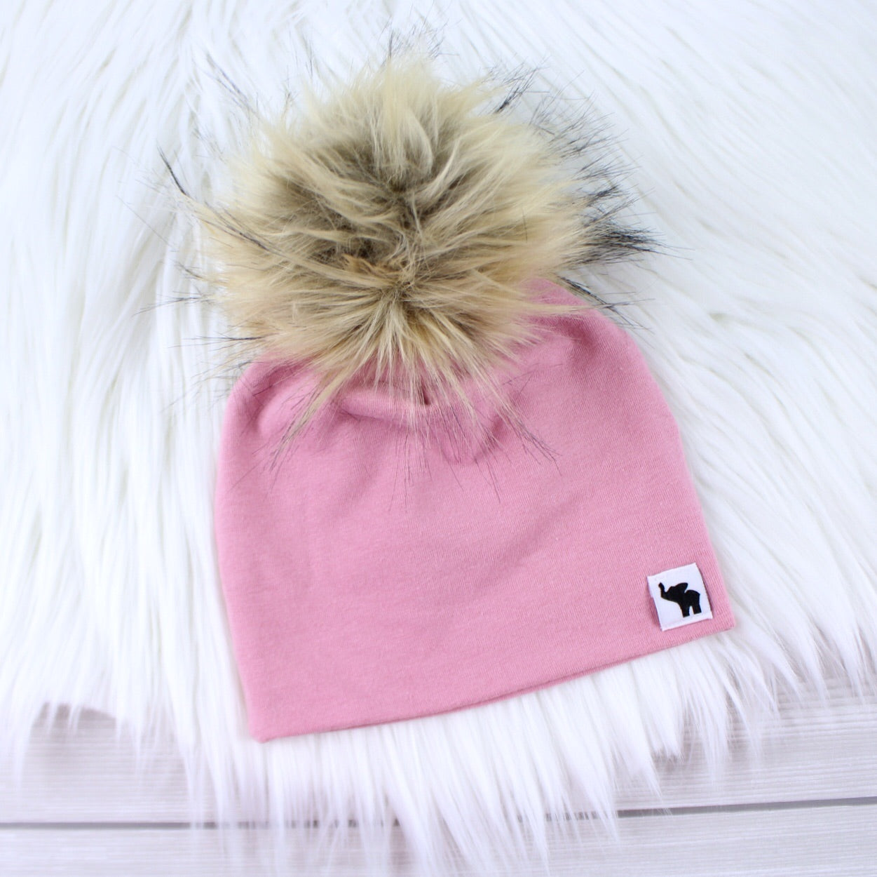 Dusty Rose Pom Beanie