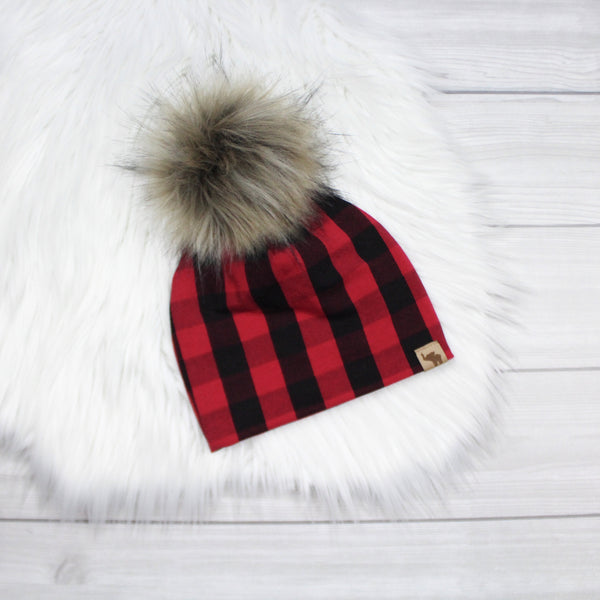 Red and Black Buffalo Plaid Pom Beanie
