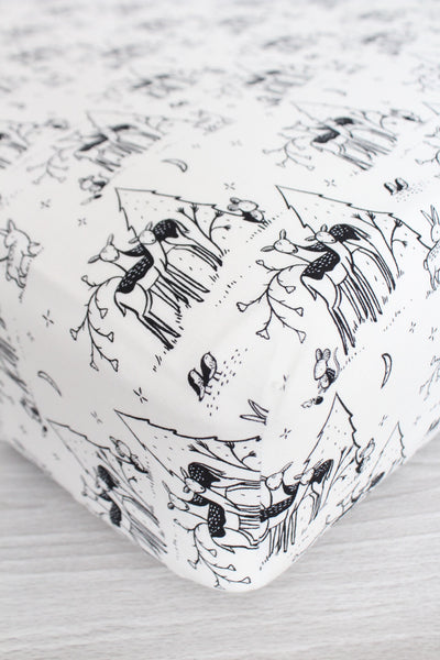 Monochrome Deer Crib Sheet or Changing Pad Cover