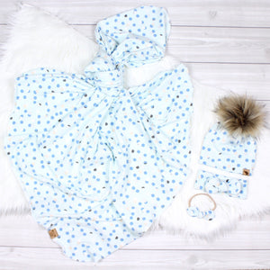 Blue Polka Dots Swaddle Set