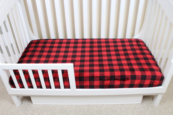 Buffalo Plaid Minky Crib Sheet or Changing Pad Cover