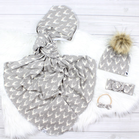 Gray Bucks Swaddle Set