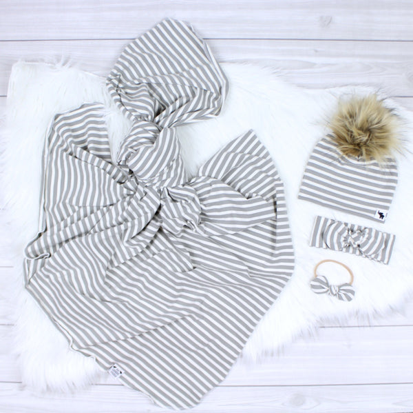Gray Stripes Swaddle Set