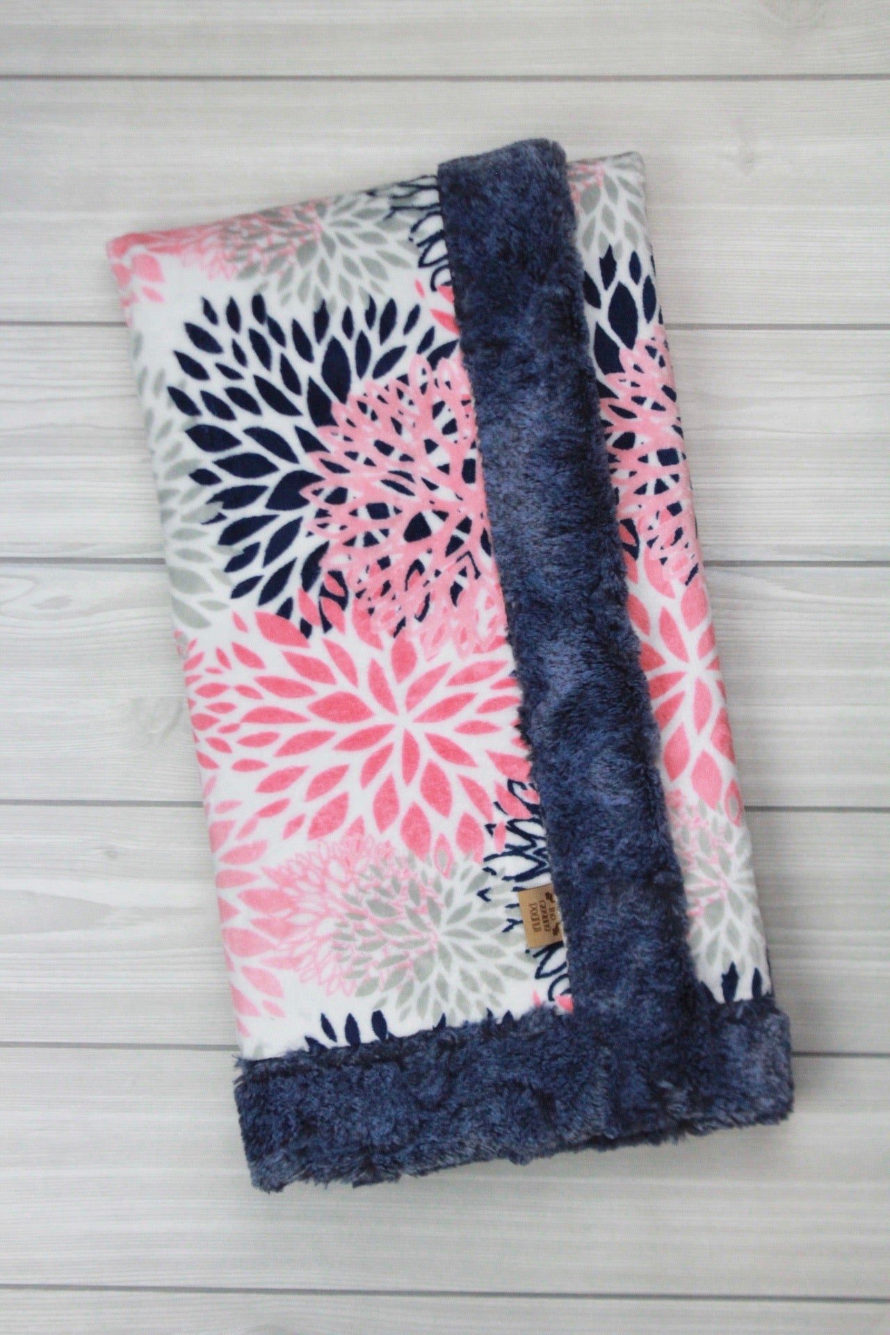Coral and Navy Flower Burst Minky Blanket