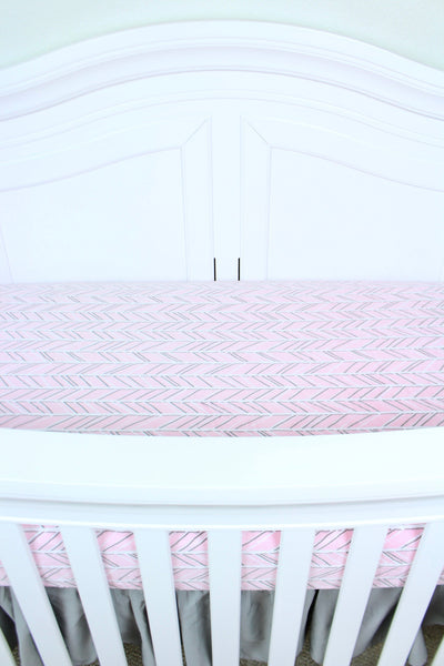 Pink Herringbone Minky Crib Sheet or Changing Pad Cover