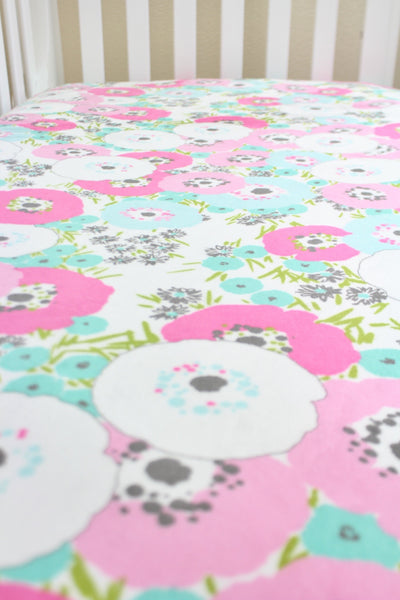Pink Poppies Minky Crib Sheet or Changing Pad Cover