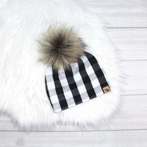 White and Black Buffalo Plaid Pom Beanie