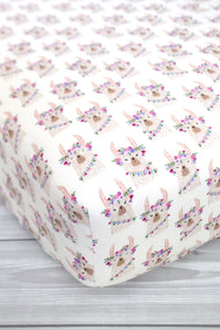 Floral Llama Crib Sheet or Changing Pad Cover