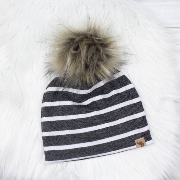 Black Denim Stripe Pom Beanie