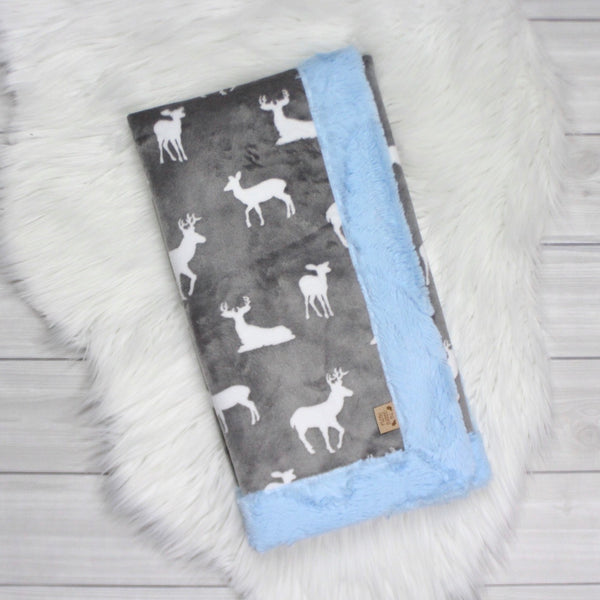 Gray Bucks Minky Blanket