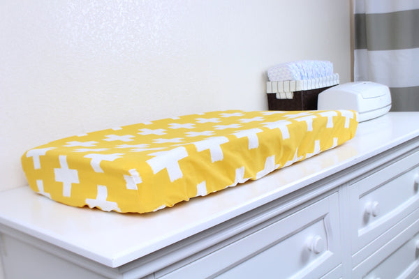 Mustard Crosses Crib Sheet or Changing Pad Cover